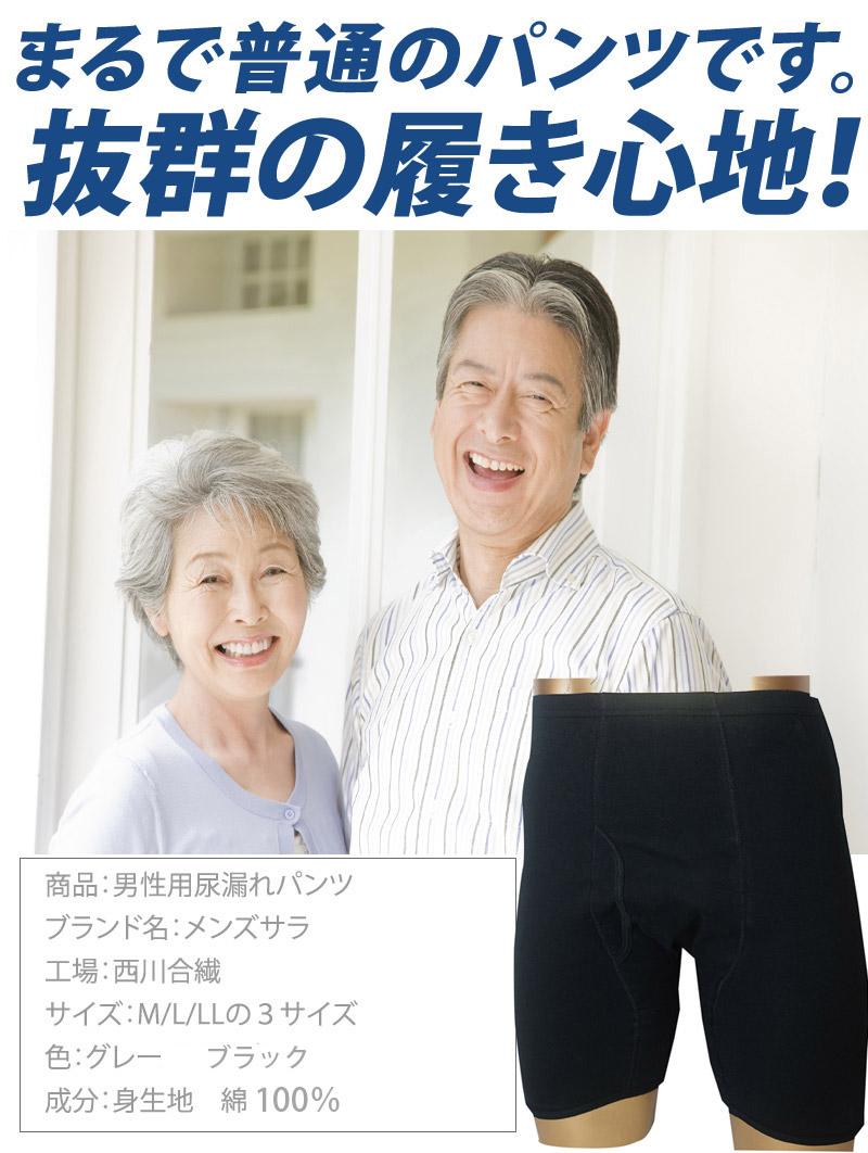男性用尿漏れパンツ 大容量 綿100% 100cc mjm610まるで普通のパンツです。