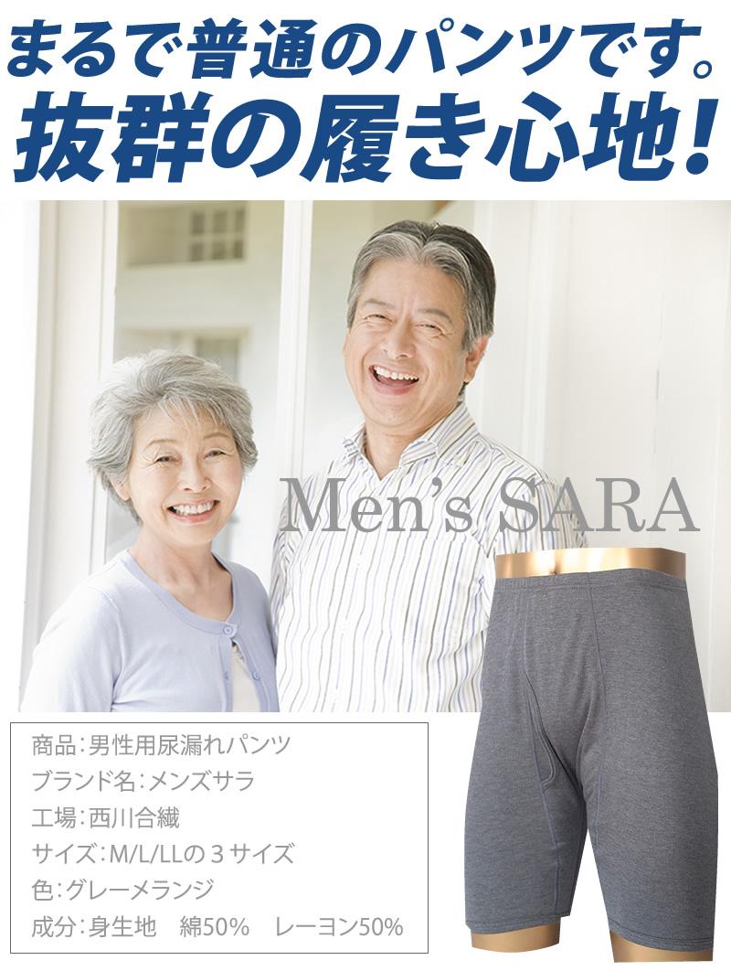 男性用尿漏れパンツ メンズサラ抜群の履き心地