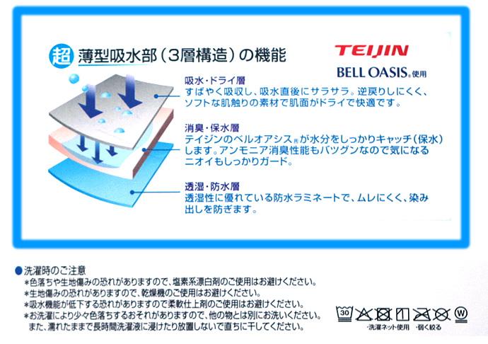 TEIJIN 超薄型吸水部 尿モレパンツ【TS5009】
