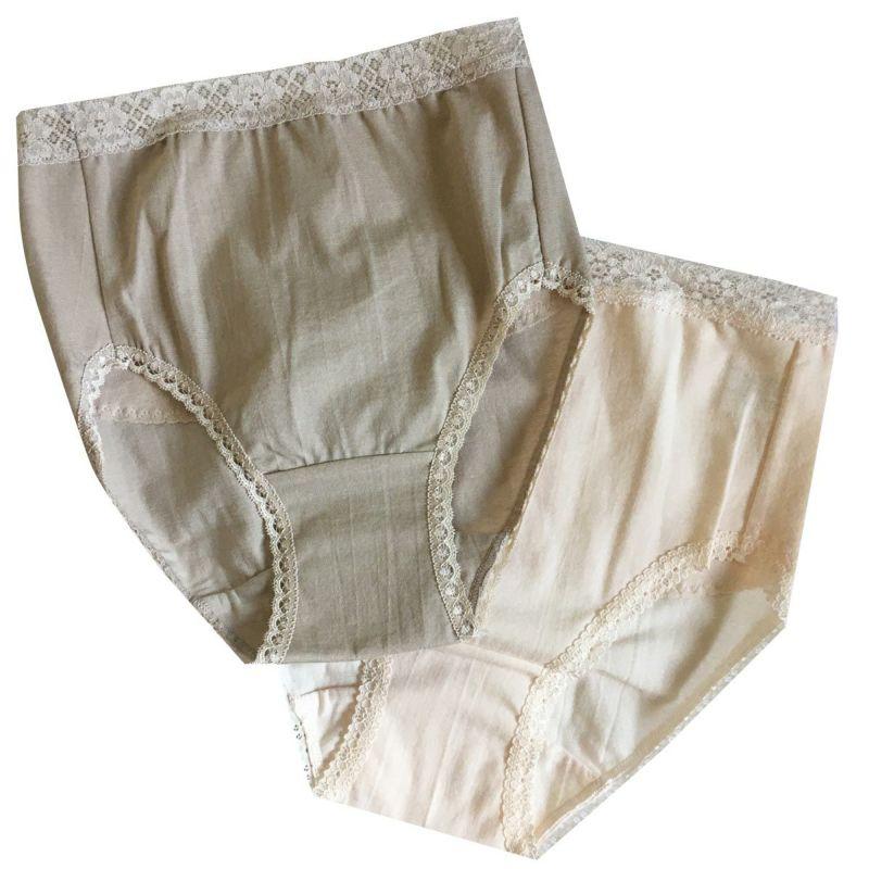 ゲルマニウム錬り込み繊維の腰当付きショーツ2色ピーチ モカ